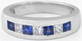 Men's Sapphire and White Sapphire Wedding Band in 14k