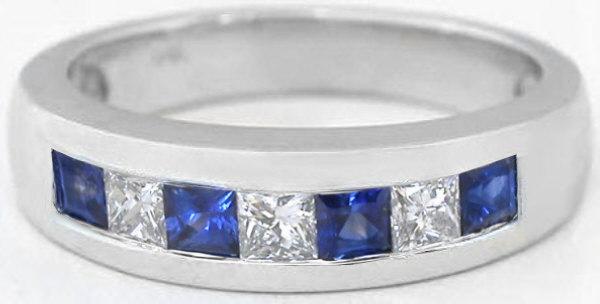 Mens Princess Cut Sapphire And Princess Cut Diamond Wedding Band MR 5002