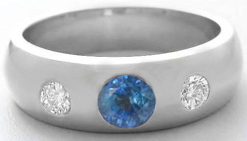 Mens Burnished Round Cut Sapphire and Round Cut Diamond Wedding