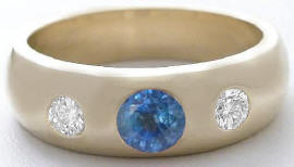 Men's Sapphire and White Sapphire Wedding Band in 14k yellow gold