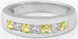Men's Princess Cut Yellow and White Sapphire Wedding Band in 14k