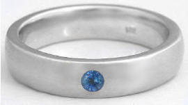 Men's Wedding Band with Sapphire in 14k