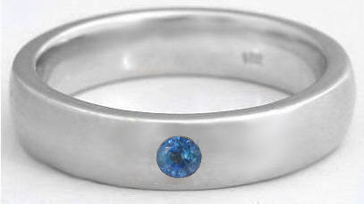 Mens 6mm Blue Sapphire Wedding Band in 14k MR5009
