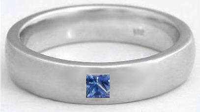 Menu0027s 0.15 Ct Princess Cut Blue Sapphire Wedding Ring In 14k ...