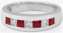 Men's Princess Cut Ruby and White Sapphire Wedding Band