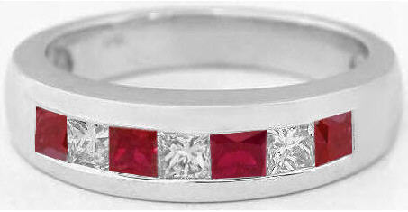 Mens Princess Cut Ruby And Diamond Wedding Band