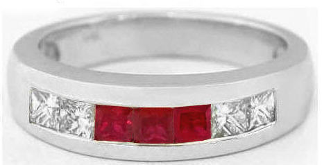 Mens 132 Ctw Princess Cut Ruby And White Sapphire Ring In 14k