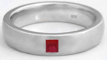 Mens 018 Ct Princess Cut Ruby Wedding Band In 14k Gold 6mm