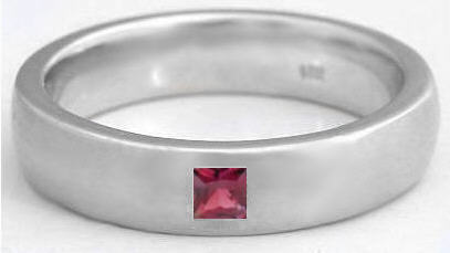 mens 022 ct princess cut garnet wedding band in 14k gold 6mm band - Garnet Wedding Ring