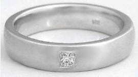 Men's Burnished Princess Cut Diamond Wedding Band in 14k