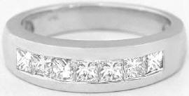 Men's 1 carat Princess Cut Diamond Wedding Band in 14k gold