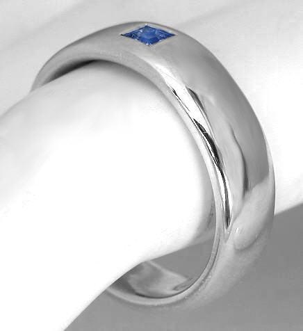 mens princess cut blue sapphire wedding ring in 14k - Mens Sapphire Wedding Rings