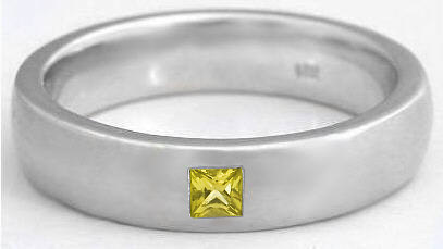 Mens 6mm Princess Cut Yellow Sapphire Wedding Band in 14k gold MR