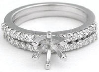 Classic Round Diamond Semi Mount and Matching Wedding Ring