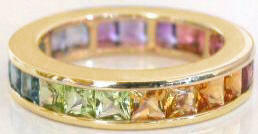 Multi-gemstone square-cut eternity band ring in 14k gold