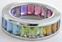 MultiGemstone Channel Set Baguette Eternity Band