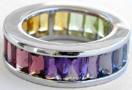 6.6 ctw Multi-Gemstone Baguette Eternity Band Ring White Gold