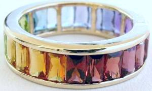 Multigemstone Eternity Band With Baguette Gemstones In 14k