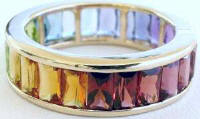 6.6 ctw Multi-Gemstone Baguette Eternity Band in Rose Gold