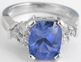 4.79 ctw Ceylon Cushion Cut Blue Sapphire and Diamond Ring