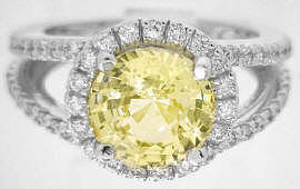 Unheated Yellow Sapphire Engagement Rings in 14k white gold
