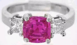 2.31 Unheated Pink Sapphire and Princess Cut Diamond Ring in Platinum