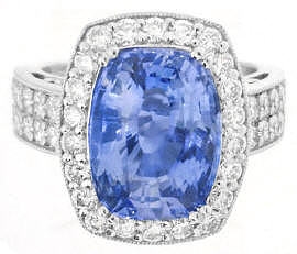 6 carat Unheated Ceylon Blue Sapphire and Diamond Engagement Ring in 18k