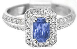 Radiant Cut Sapphire and Diamond Rings