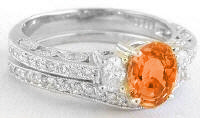 Antique Style Orange Sapphire Engagement Ring and Matching Contoured Wedding Band