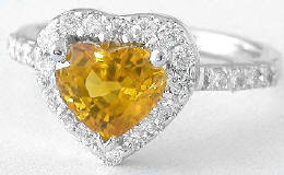 2.24 ctw Unheated Heart Yellow-Orange Sapphire and Diamond Ring in 18k white gold