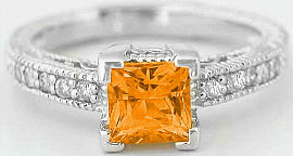1.19 ctw Princess Cut Orange Sapphire and Diamond Ring in 14k white gold