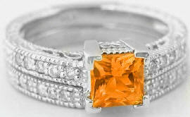Vintage Orange Sapphire Diamond Engagement Ring with Matching Band