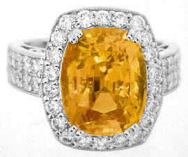 Large 8.19 ctw Ceylon Orange Sapphire and Diamond Ring in 18k white gold