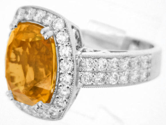 Orange Sapphire Ring Large Cushion Cut Gemstone With
