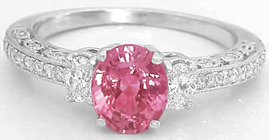 Vintage Pink Sapphire Engagement Ring With Matching