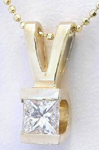 0.50 carat Princess Cut Diamond Solitaire Pendant in 14k yellow gold