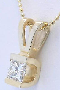 0.50 carat Princess Cut Diamond Solitaire Necklaces in 14k yellow gold