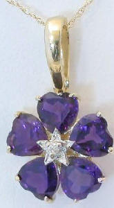 Amethyst Flower Pendant in 14k with Heart Shaped Stones