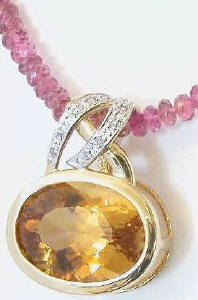 Citrine and pink Tourmaline Pendant necklace
