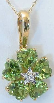Peridot Flower Pendant With Heart Shaped Peridot Gemstones In 14k Yellow Gold Gp 3008