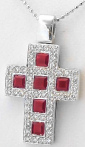 Ruby & Diamond Cross in 18k white gold
