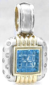 Blue Topaz and Diamond Pendant Enhancer in 14k white and yellow gold