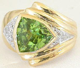 Trillion Peridot Rings