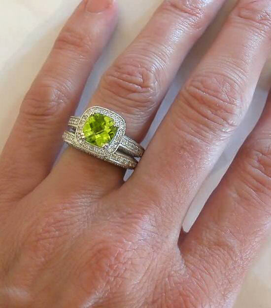 Cushion Cut Peridot And Diamond Engagement Ring And