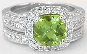 3.15 ctw Cushion Cut Peridot and Diamond Ring in 14k white gold