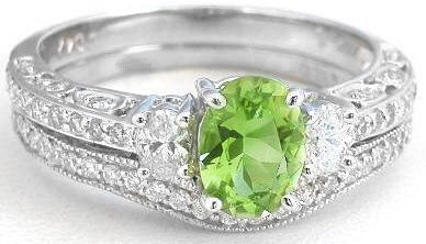Vintage Inspired Peridot And Oval Diamond Engagement Ring