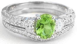 Peridot Engagement Rings with Wedding Band