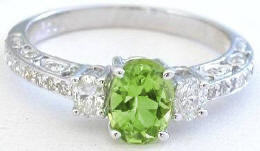 Vintage Style Peridot and Diamond Ring