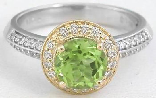 Peridot and Diamond Ring in 14k White and Yellow Gold