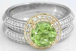 Peridot Engagement Rings in 14k White and Yellow Gold